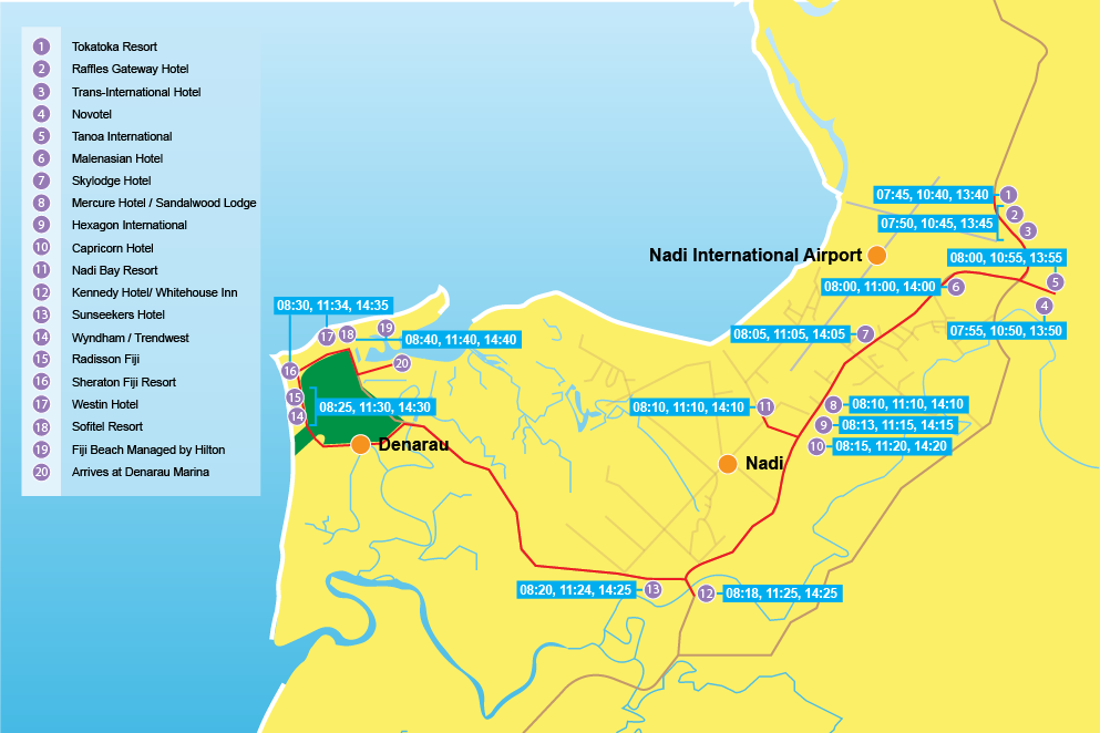 Bus transfers in Fiji map