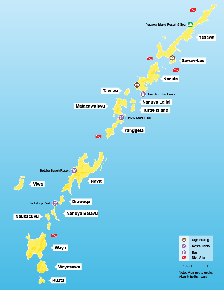 Yasawa Islands Fiji Map Yasawa Islands   Fijibookings.com