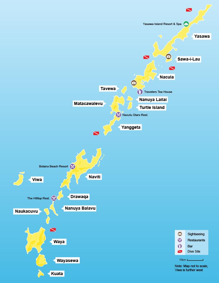 Yasawa Island Map Yasawa Islands   Fijibookings.com